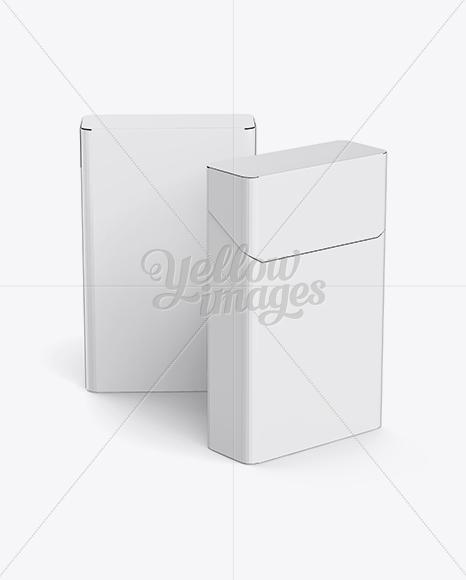 Download Two Flip-top Hard Cigarette Packs Mockup in Box Mockups on ...