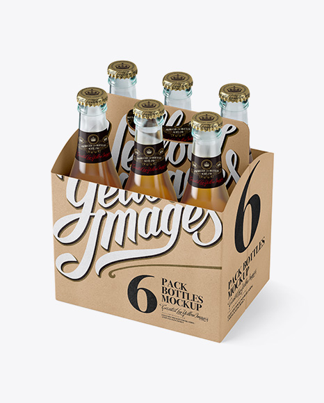Download Kraft Paper 6 Pack Beer Bottle Carrier Mockup - Halfside ...