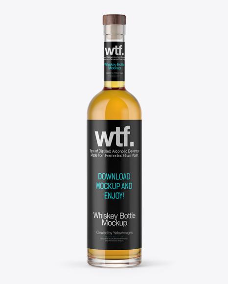 750ml Flint Glass Arizona Bottle w/ Whisky Mockup Packaging Mockups