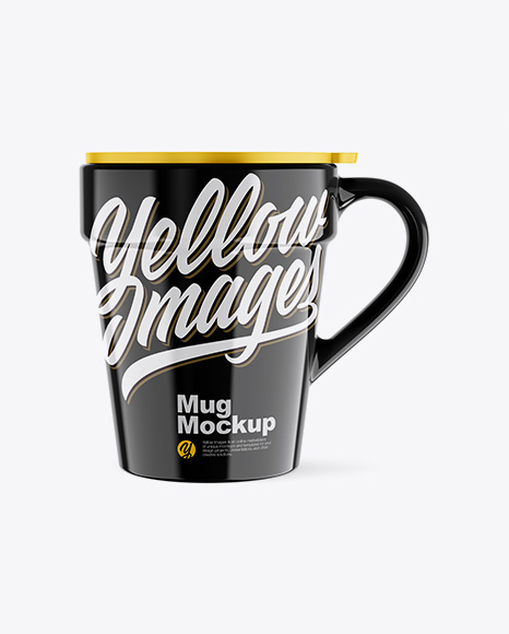 Glossy Mug w/ Cap Mockup - Front View