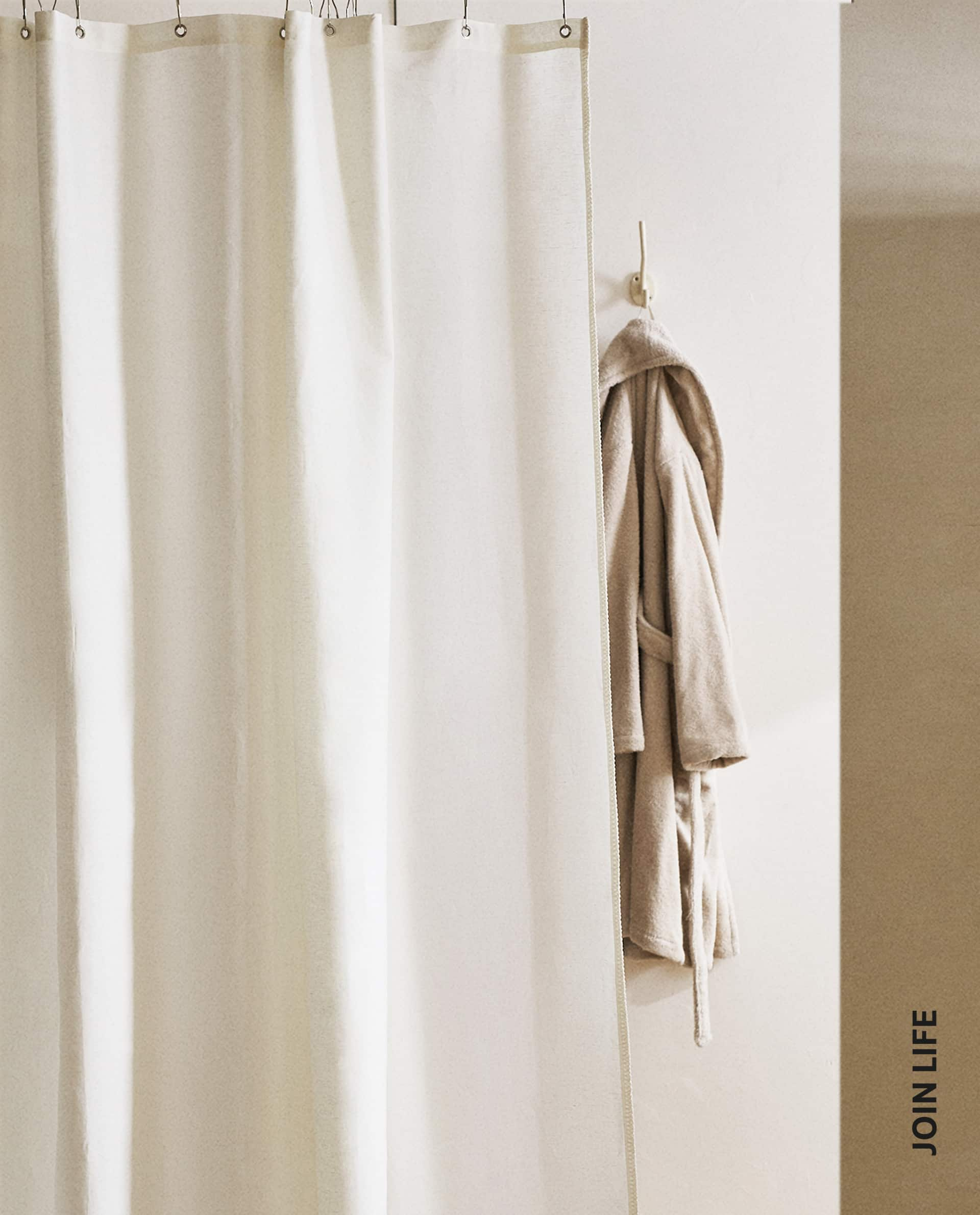 linen shower curtain with topstitching