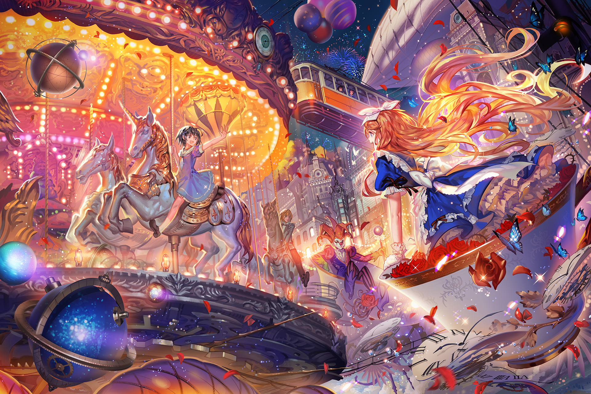 Wallpaper Falling Down Carousel Zerochan Anime Image Board