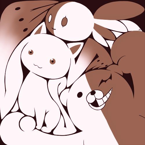 Tags: Anime, Pixiv Id 822410, Mahou Shoujo Ikusei Keikaku, Mahou Shoujo Madoka☆Magica, Danganronpa, Kyubee, Monokuma, Fav (Mahou Shoujo Ikusei Keikaku), PNG Conversion