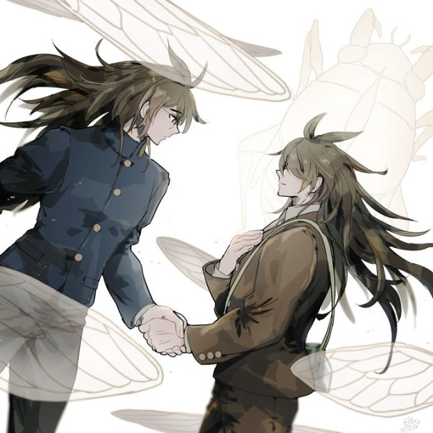 Tags: Anime, Pixiv Id 22929515, New Danganronpa V3, Gokuhara Gonta, Brown Jacket, Shaking Hands, Fanart, Twitter, Tumblr