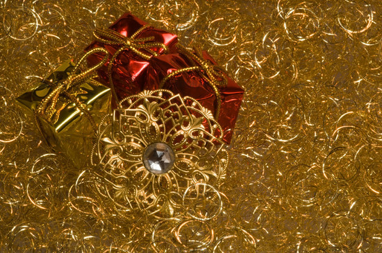 photo christmas decoration on a gold angel hair image 535338