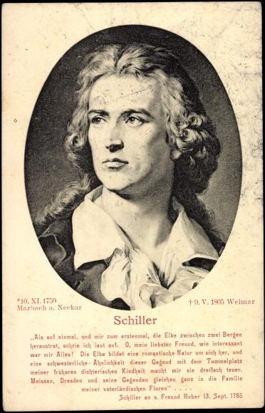 Ansichtskarte / Postkarte Portrait des Schriftstellers Friedrich Schiller