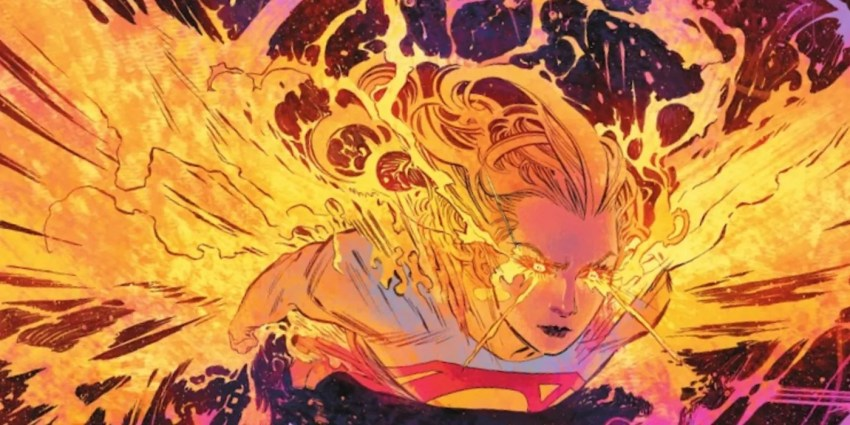 Supergirl, cousin of Superman, with the powerup of Red Kryptonite, grows wings of fire to fly through space.