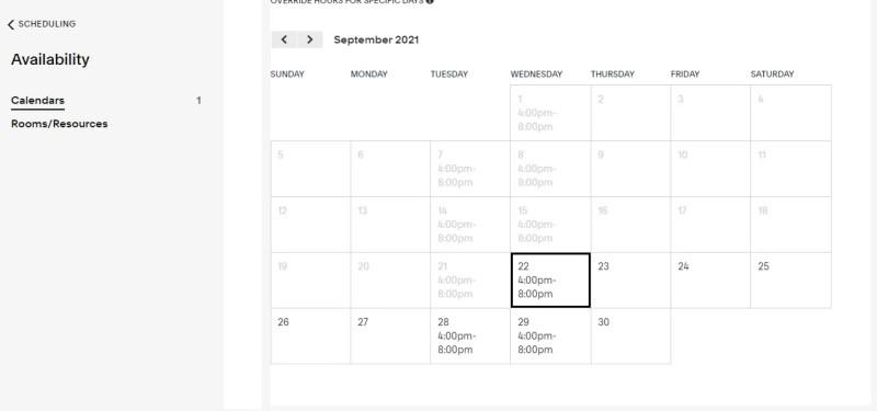screenshot del sito Web di pianificazione di acuity