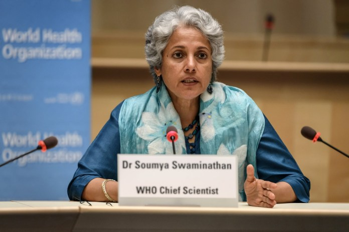 """Dr. Soumya Swaminathan, chief scientist of the World Health Organization, at a recent news conference. """"We don't shy away from being challenged — it's good for us to be challenged,"""" she said in an interview."""