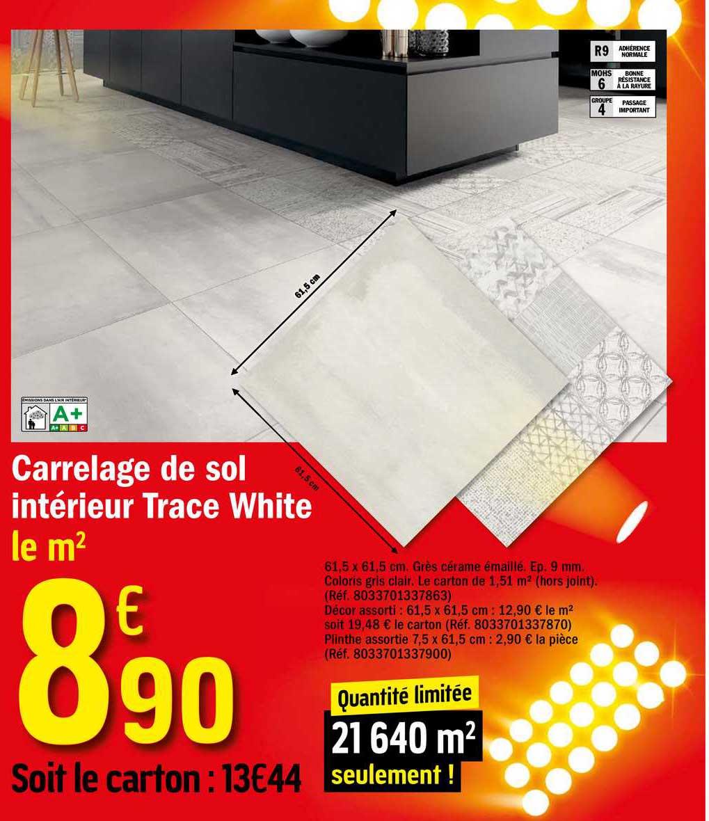 Offre Carrelage De Sol Interieur Trace White Chez Brico Depot