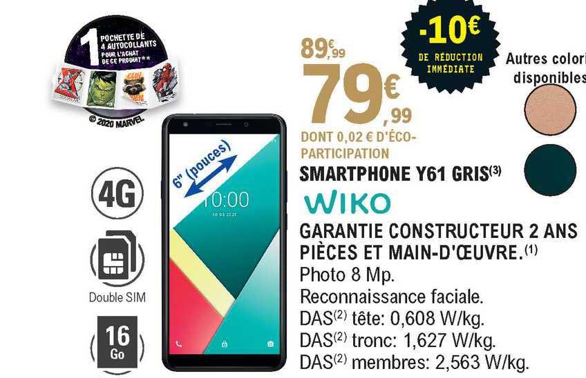 offre smartphone y61 gris wiko chez e