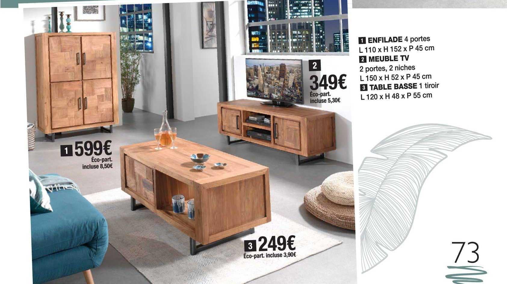 offre enfilade meuble tv table basse