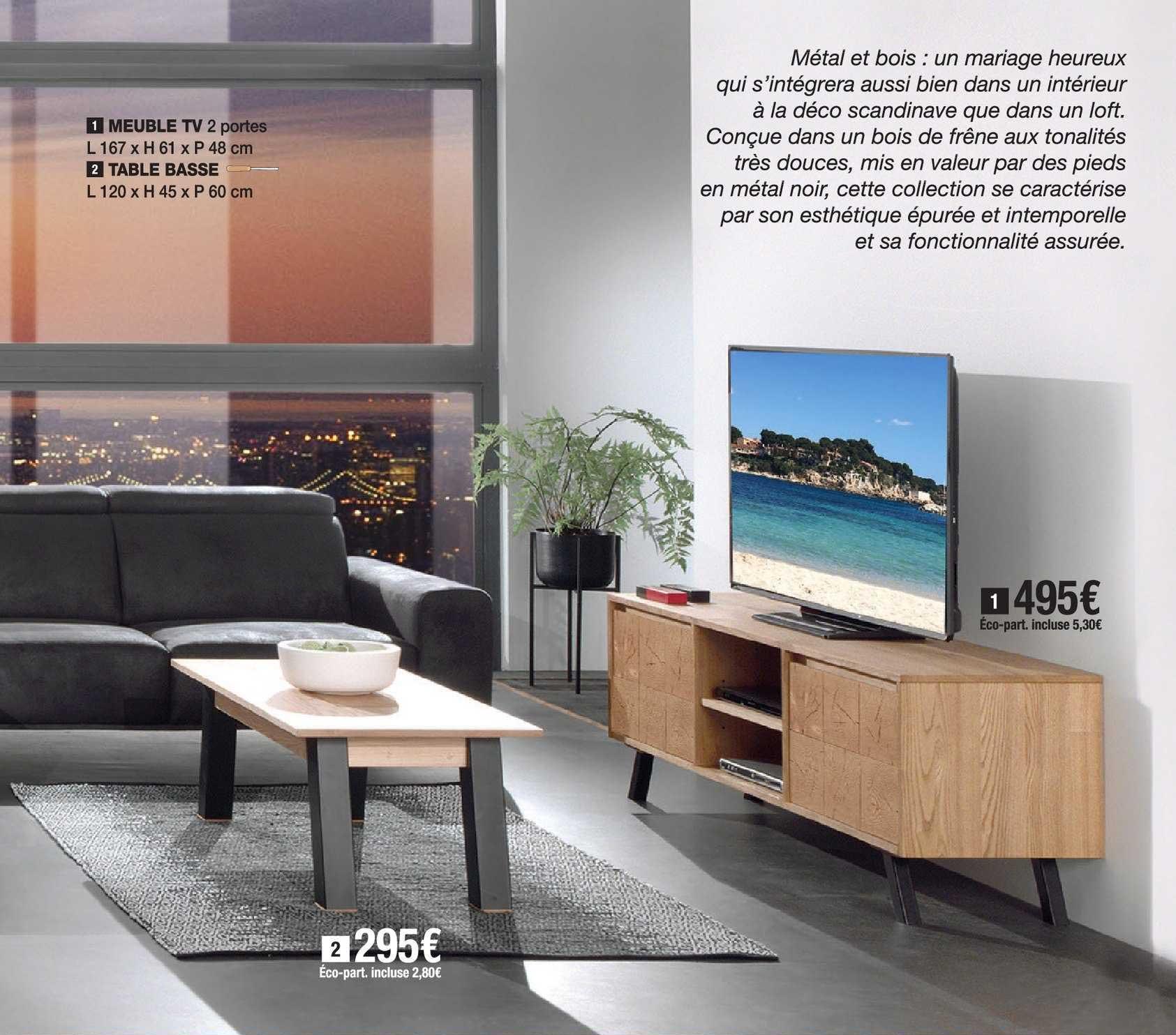 offre meuble tv 2 portes table basse