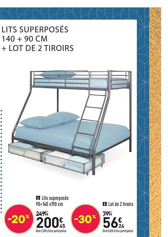 offre lit superposes 90 140 x 190 cm