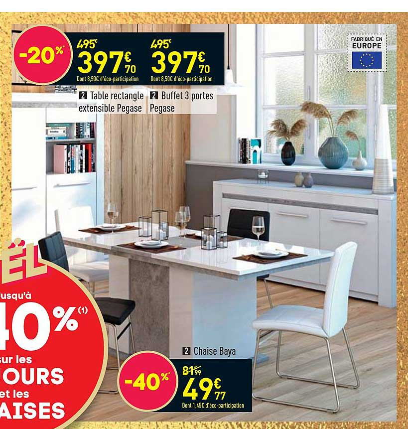 offre table rectangle extensible pegase
