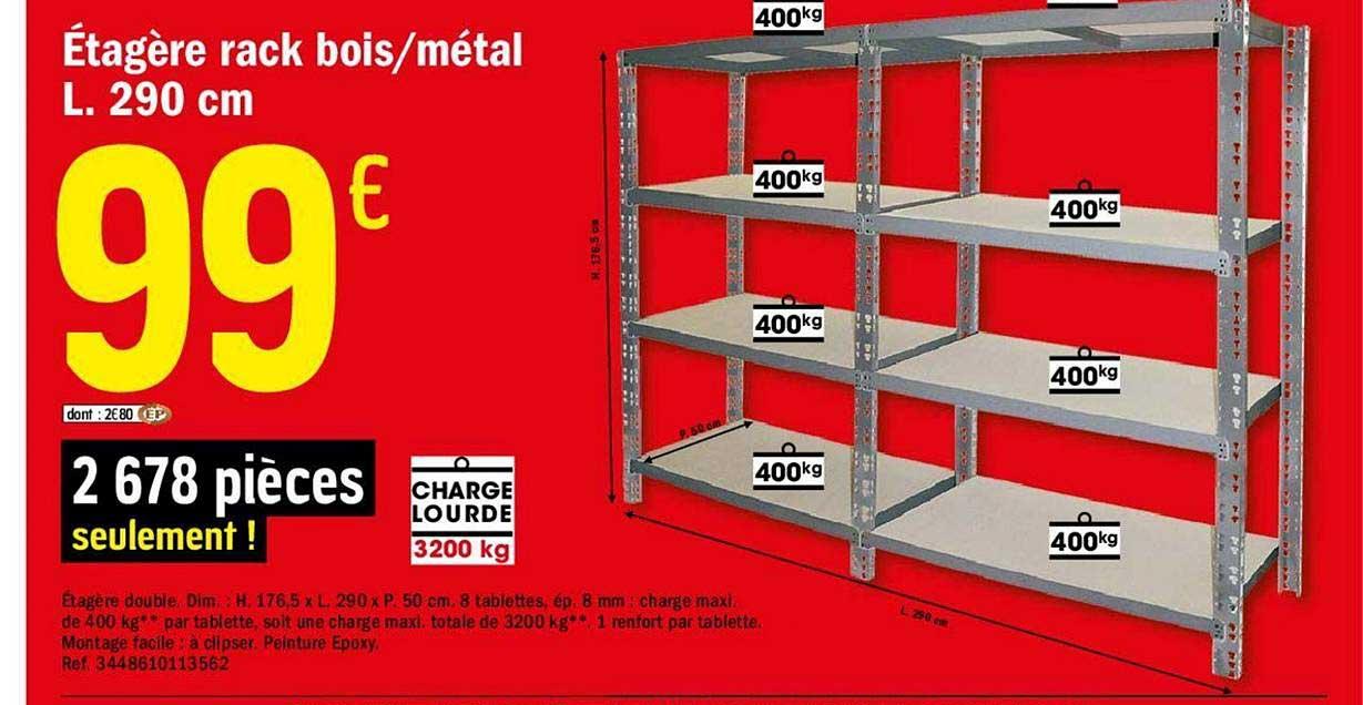 Offre Etagere Rack Bois Metal L 290 Cm Chez Brico Depot