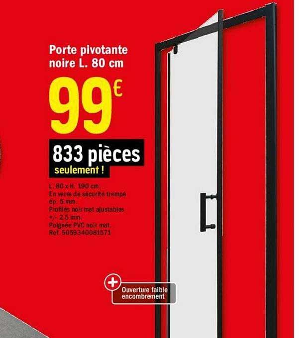 offre porte pivotante noire l 80 cm
