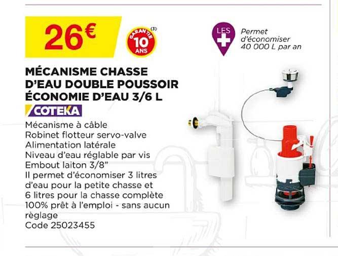 Offre Mecanisme Chasse D Eau Double Poussoir Economie D Eau 3 6l Chez Bricomarche