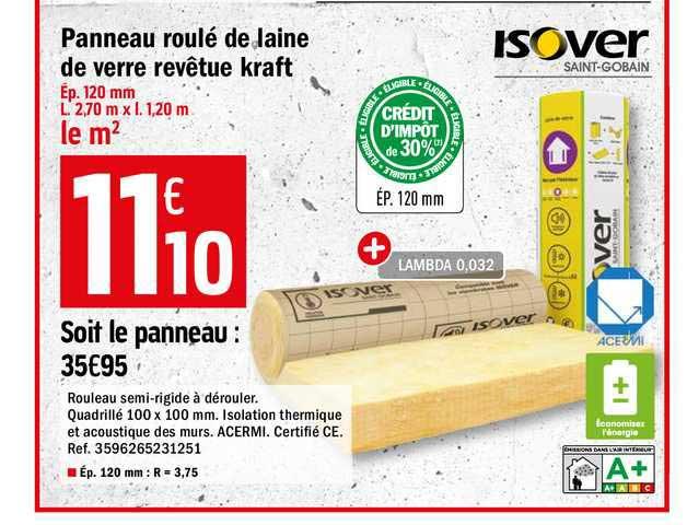 Offre Panneau Laine De Roche Revetue Kraft Rockmur Chez Brico Depot