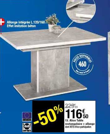 offre alice table rectangulaire
