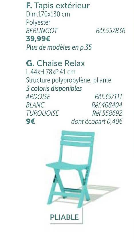 chaise relax chez gifi