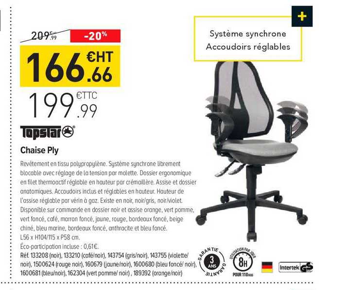 Offre Chaise Ply Topstar Chez Top Office