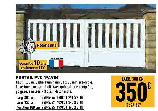 Offre Portail Pvc Pavin Chez Brico Cash