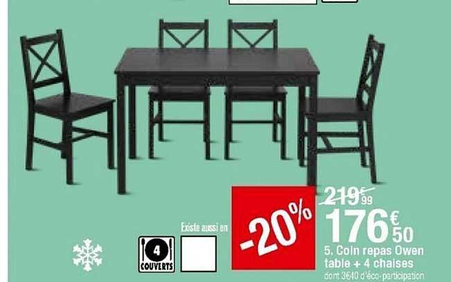 offre coin repas owen table 4 chaise