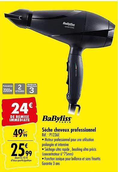 Offre Seche Cheveux Professionnel Babyliss Chez Carrefour