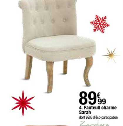 offre fauteuil charme sarah chez but