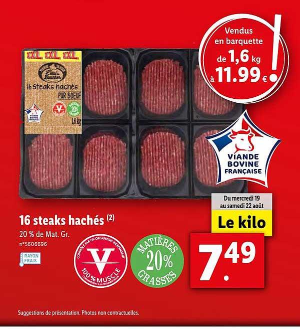 offre 16 steaks haches chez lidl