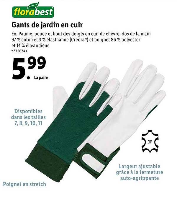 gants de jardin en cuir florabest chez lidl