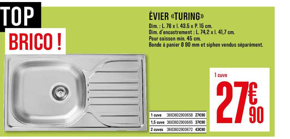 offre evier turing chez brico depot