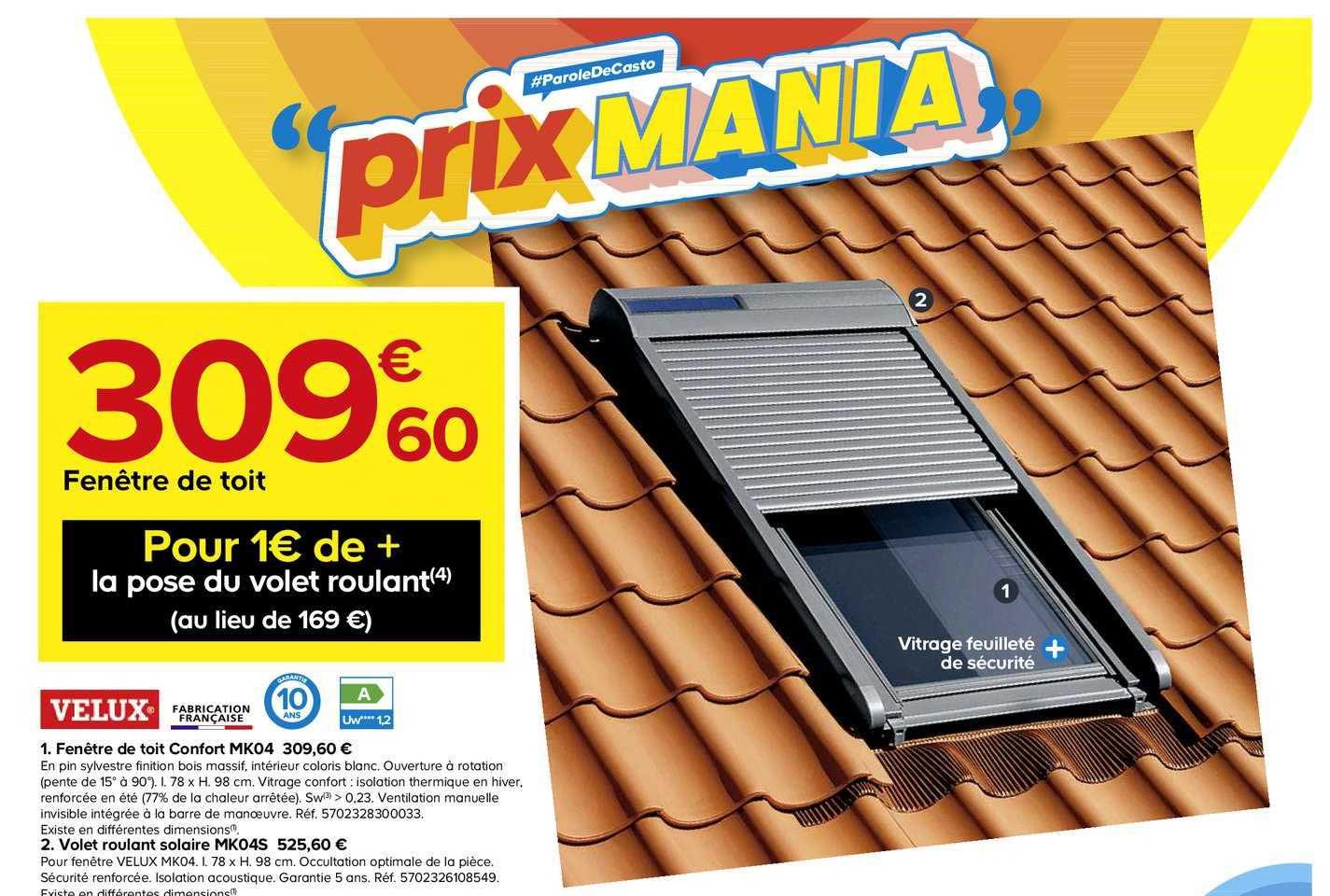Offre Fenetre De Toit Confort Mk04 Velux Volet Roulant Solaire Mk04s Velux Chez Castorama