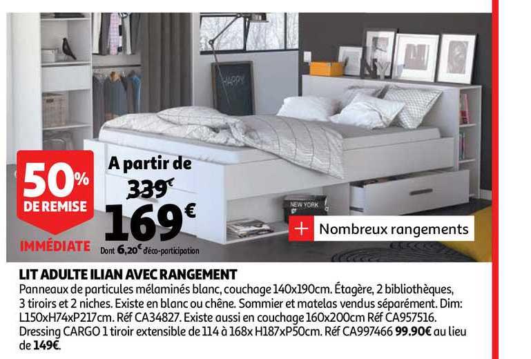 lit adulte ilian avec rangement 50