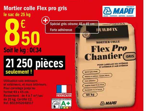 Offre Mortier Colle Flex Pro Gris Mapei Chez Brico Depot