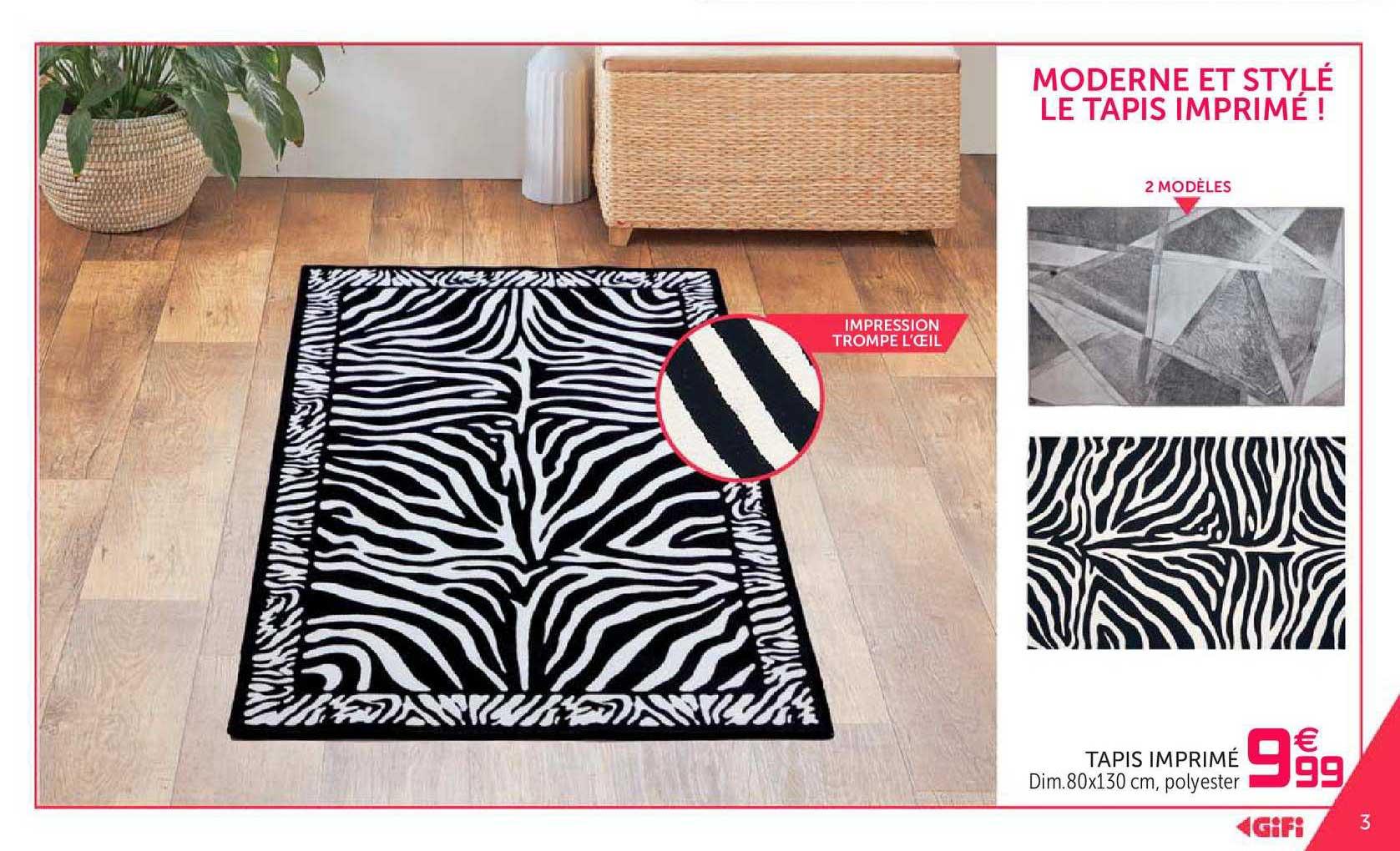 offre tapis imprime chez gifi