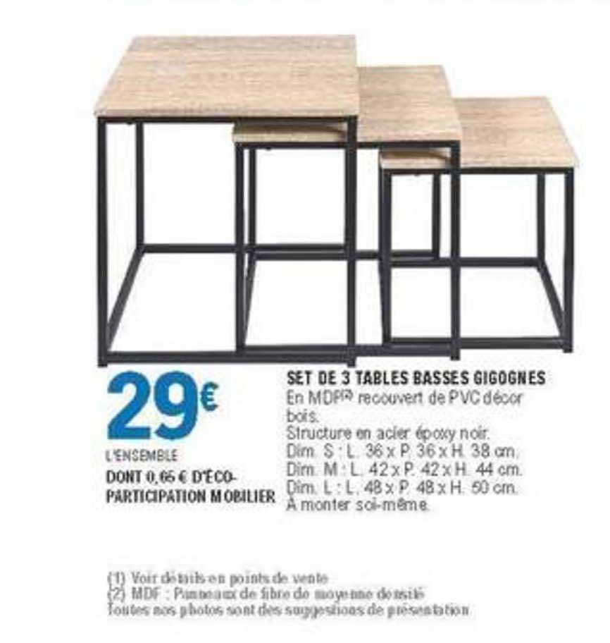 3 tables basses gigognes chez e leclerc