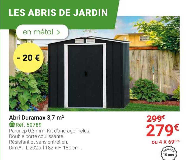 offre abri duramax 3 7 m2 chez gamm vert