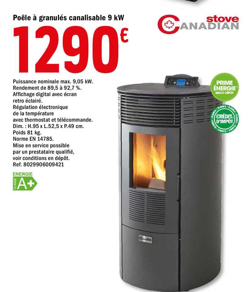 Offre Poele A Granules Canalisable 9 Kw Stove Canadian Chez Brico Depot