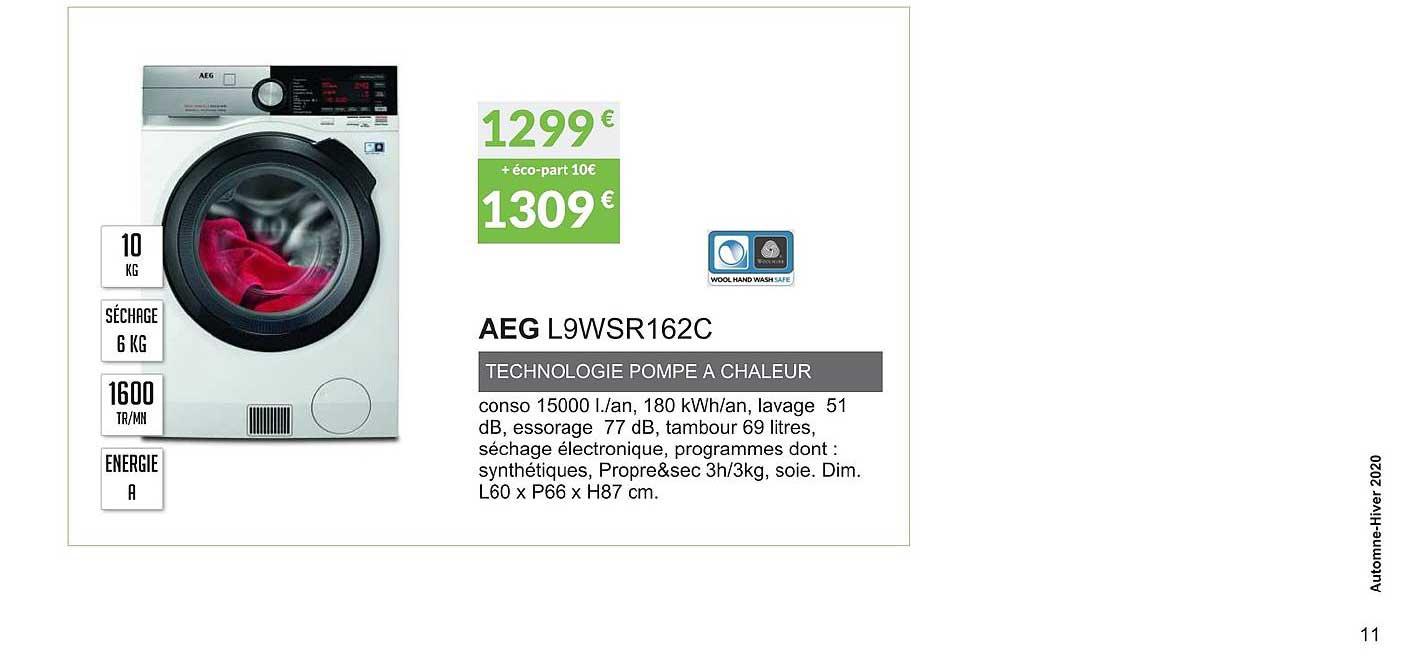 Offre Aeg L9wsr162c Technologie Pompe Chaleur Chez Copra