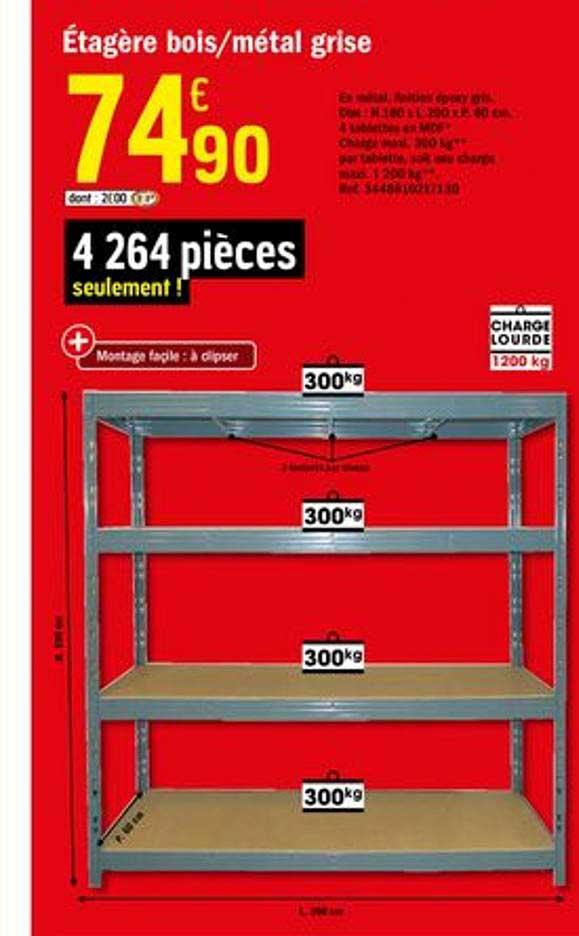 Offre Etagere Bois Metal L 90 Cm Chez Brico Depot
