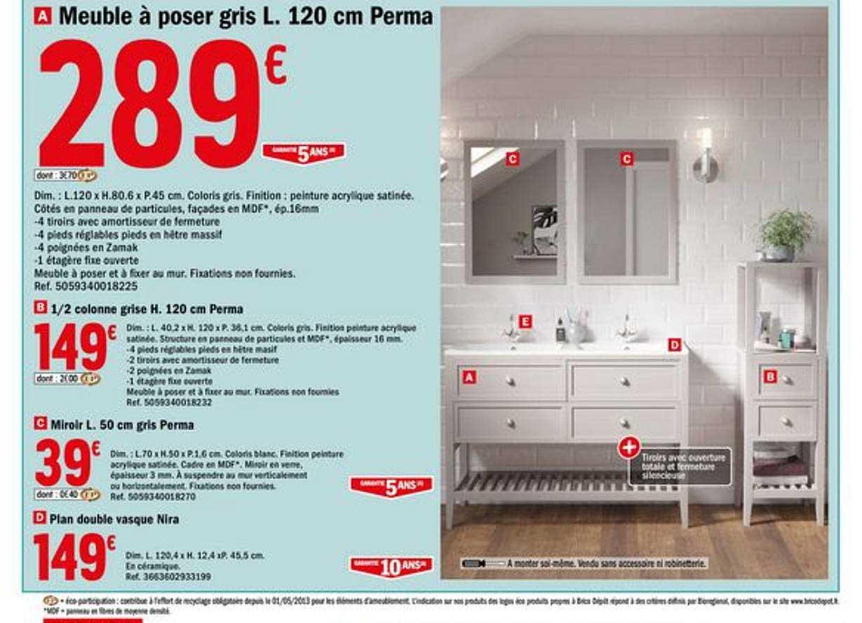 Offre Meuble A Poser Gris L 120 Cm Perma Chez Brico Depot