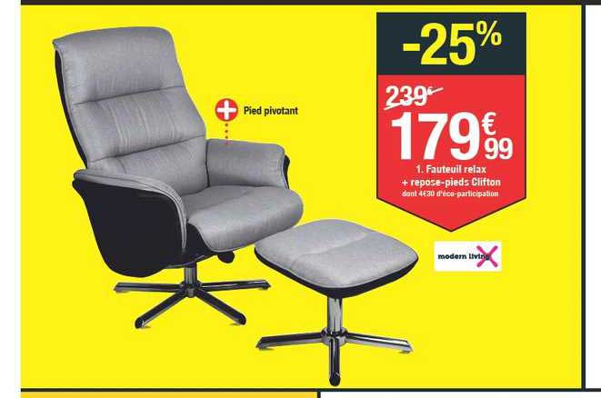 offre fauteuil relax repose pieds
