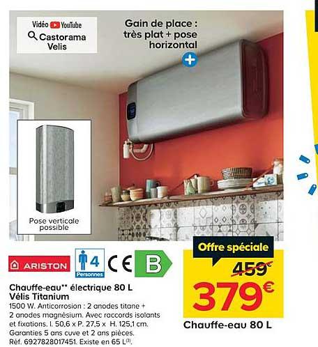 Offre Chauffe Eau Electrique 80 L Velis Titanium Ariston Chez Castorama