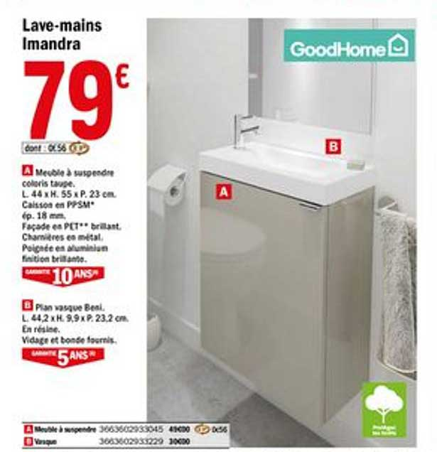Offre Lave Mains Imandra Goodhome Chez Brico Depot