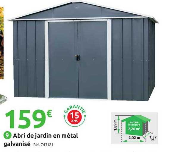offre abri de jardin en metal galvanise