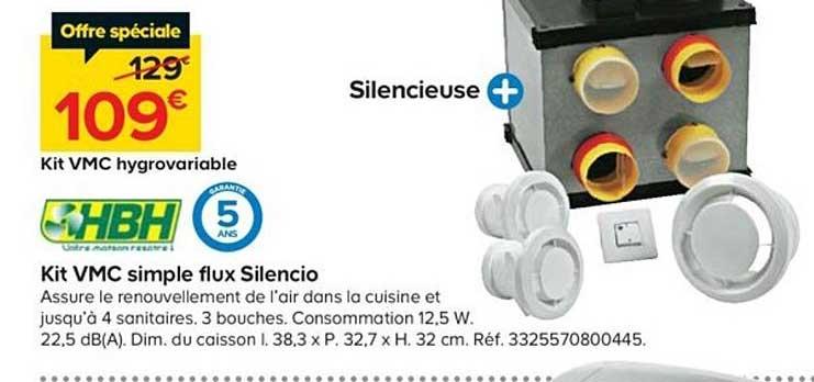 Offre Kit Vmc Simple Flux Silencio Hbh Chez Castorama