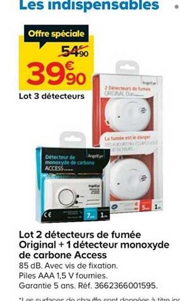 Offre Lot De 2 Detecteurs De Fumee Original 1 Detecteur Monoxyde De Carbone Access Chez Castorama