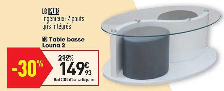 offre table basse louna 2 chez conforama